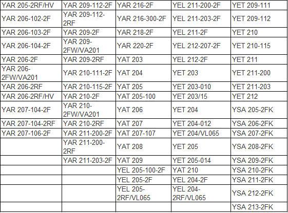 YAR 205-2RF/HV | YAR 209-112-2F | YAR 216-2F | YEL 211-200-2F | YET 209-111 |  YAR 206-102-2F | YAR 209-112-2RF | YAR 216-300-2F | YEL 211-203-2F | YET 209-112 |  YAR 206-103-2F | YAR 209-2F | YAR 218-2F | YEL 211-2F | YET 210 |  YAR 206-104-2F | YAR 209-2FW/VA201 | YAR 220-2F | YEL 212-207-2F | YET 210-115 |  YAR 206-2F | YAR 209-2RF | YAT 203 | YEL 212-2F | YET 211 |  YAR 206-2FW/VA201 | YAR 210-111-2F | YAT 204 | YET 203 | YET 211-200 |  YAR 206-2RF | YAR 210-115-2F | YAT 205 | YET 203-010 | YET 211-203 |  YAR 206-2RF/HV | YAR 210-2F | YAT 205-100 | YET 203/15 | YET 212 |  YAR 207-104-2F | YAR 210-2FW/VA201 | YAT 206 | YET 204 | YSA 205-2FK |  YAR 207-104-2RF | YAR 210-2RF | YAT 207 | YET 204-012 | YSA 206-2FK |  YAR 207-106-2F | YAR 211-200-2F | YAT 207-107 | YET 204/VL065 | YSA 207-2FK |  YAR 211-200-2RF | YAT 208 | YET 205 | YSA 208-2FK |  YAR 211-203-2F | YAT 209 | YET 205-014 | YSA 209-2FK |  YEL 205-100-2F | YAT 210 | YSA 210-2FK |  YEL 205-2F | YEL 204-2F | YSA 211-2FK |  YEL 205-2RF/VL065 | YEL 204-2RF/VL065 | YSA 212-2FK |  YSA 213-2FK |