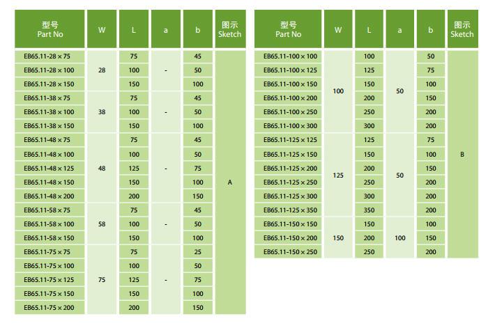 EB65.11-28×75 |  EB65.11-28×100 |  EB65.11-28×150 |  EB65.11-38×75 |  EB65.11-38×100 |  EB65.11-38×150 |  EB65.11-48×75 |  EB65.11-48×100 |  EB65.11-48×125 |  EB65.11-48×150 |  EB65.11-48×200 |  EB65.11-58×100 |  EB65.11-58×150 |  EB65.11-75×75 |  EB65.11-75×100 |  EB65.11-75×125 |  EB65.11-75×150 |  EB65.11-75×200 |  EB65.11-100×100 |  EB65.11-100×125 |  EB65.11-100×150 |  EB65.11-100×200 |  EB65.11-100×300 |  EB65.11-125×125 |  EB65.11-125×150 |  EB65.11-125×200 |  EB65.11-125×250 |  EB65.11-125×300 |  EB65.11-125×350 |  EB65.11-150×150 |  EB65.11-150×200 |  EB65.11-150×250